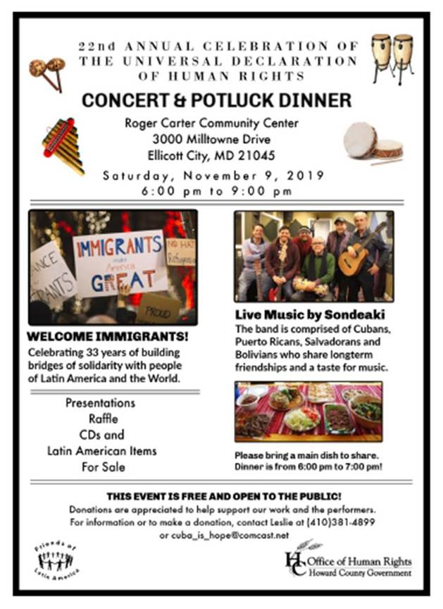 Annual Human Rights Pot-luck and Live Music, Nov. 9 at 6PM